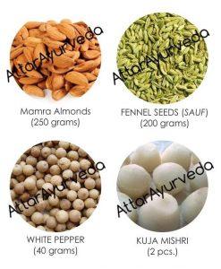 Kuja Mishri, Almonds, Fennel Seeds, White Pepper Combo Pack : For improved eyesight