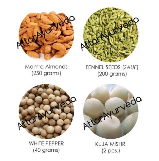 Kuja Mishri, Almonds, Fennel Seeds, White Pepper Combo Pack : For improved eyesight