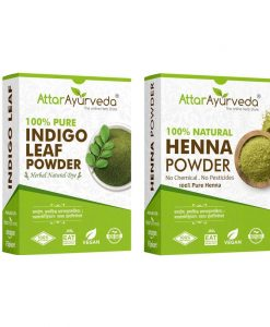 Natural Black Dye for Hair (Henna Leaves powder, Indigo leaves powder combo pack)
